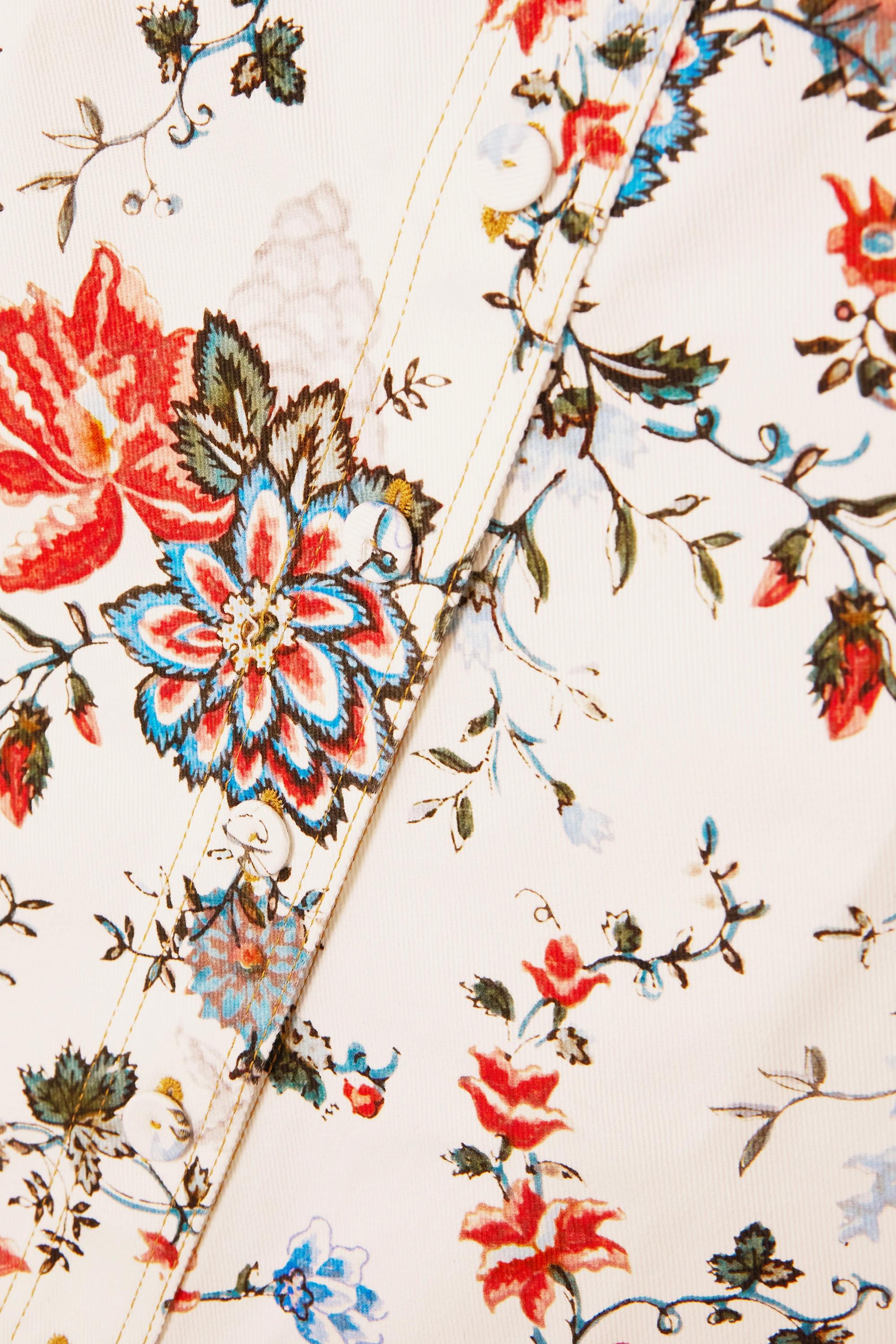 Erdem Jupe midi en jean à imprimé fleuri Victorine