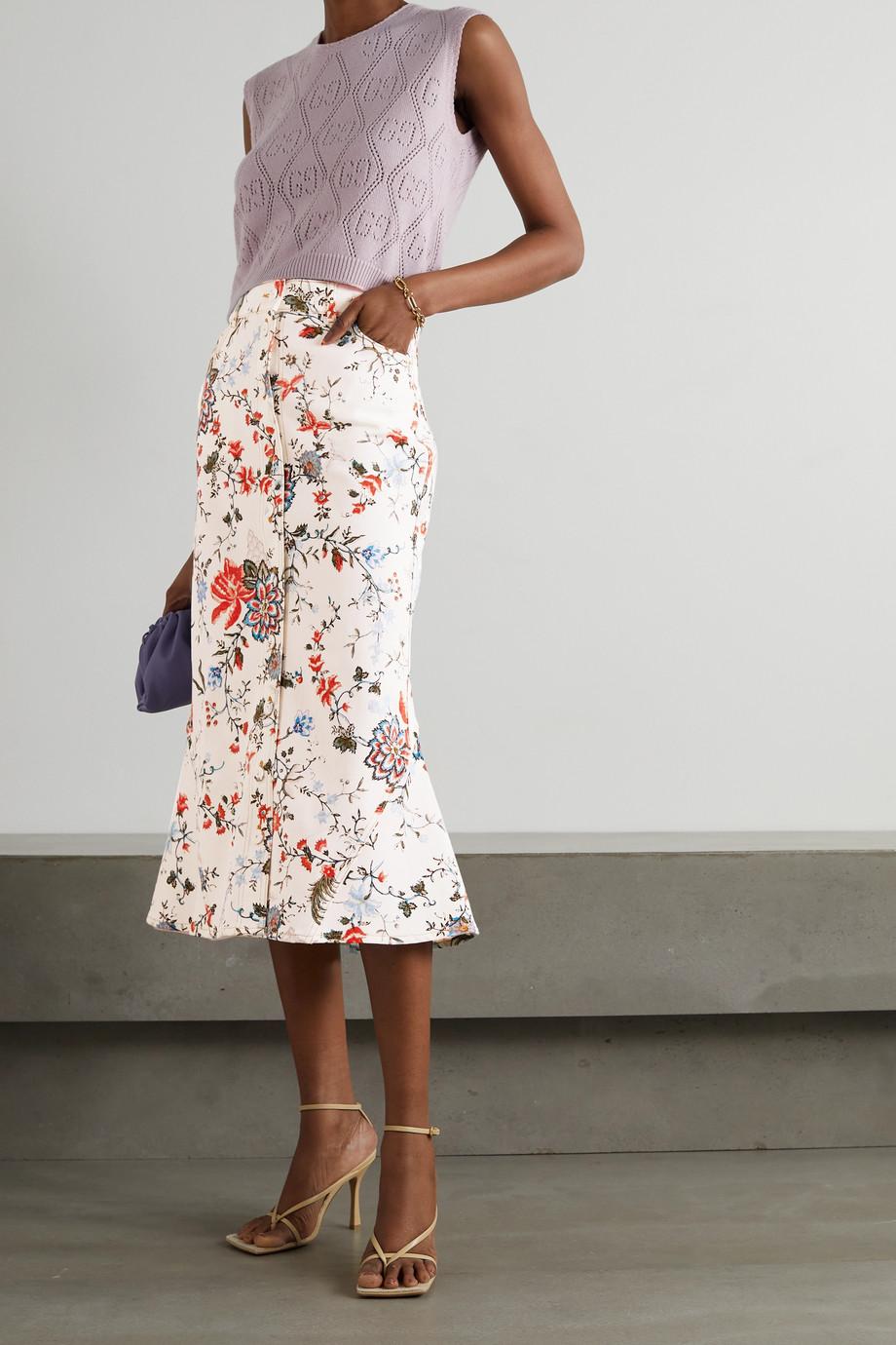 Erdem Victorine floral-print denim midi skirt