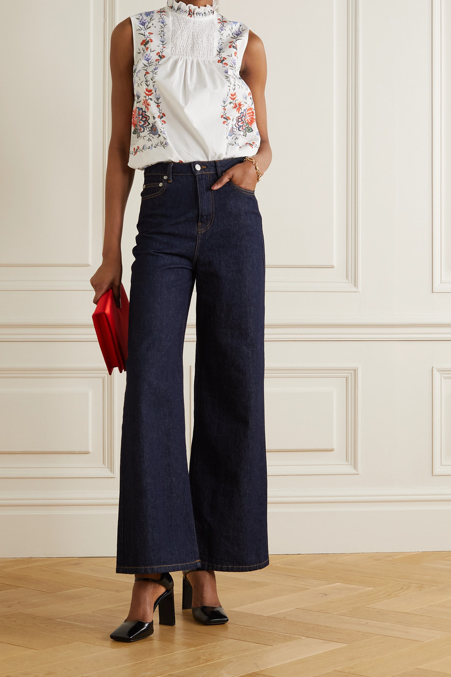 Erdem Ralph ruffled floral-print cotton-poplin blouse