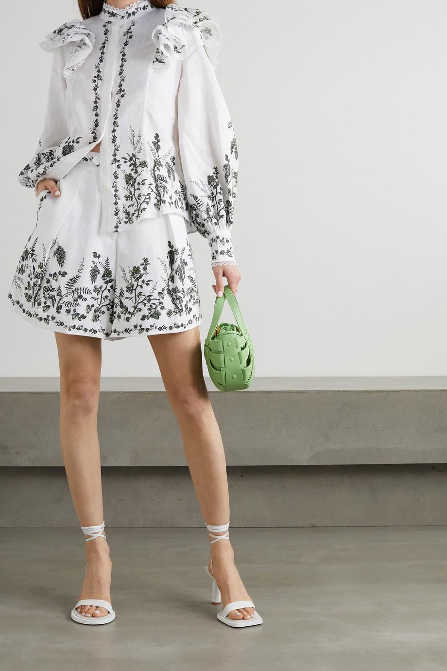 Erdem Caterina ruffled floral-print linen blouse