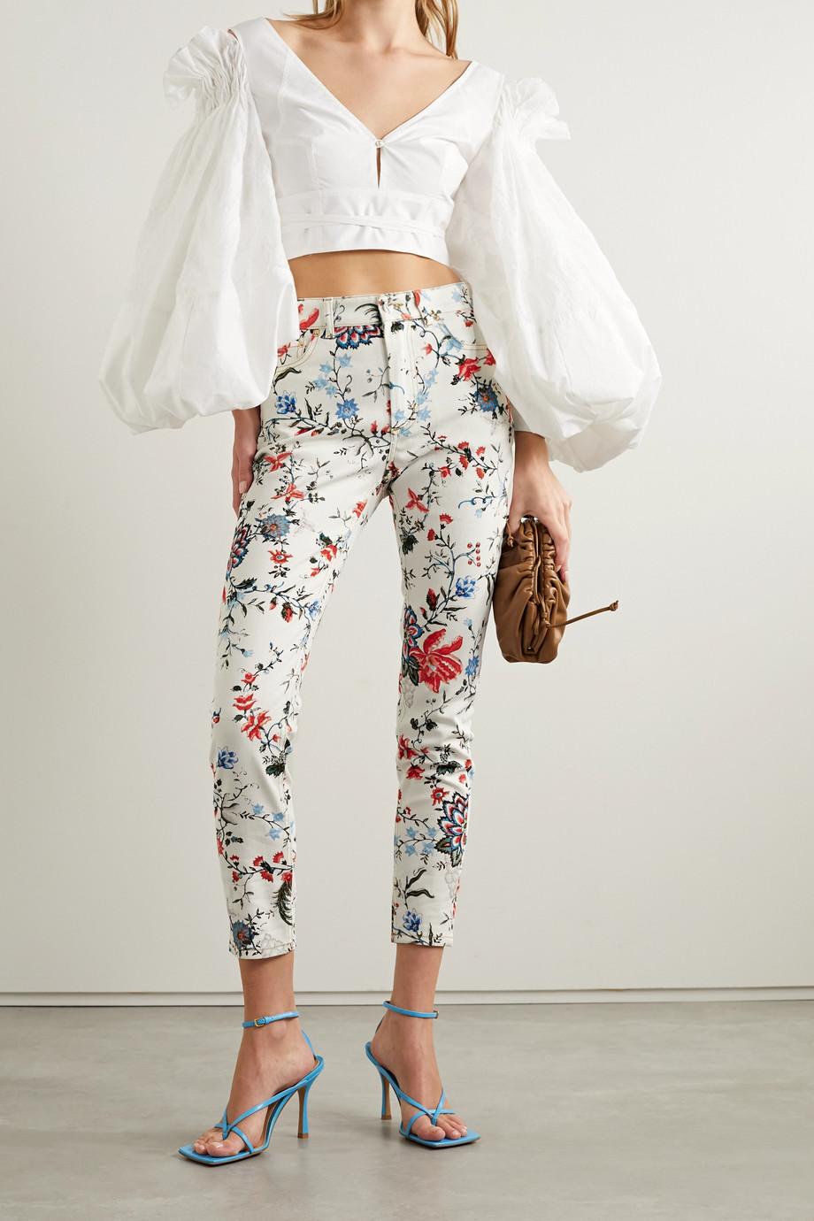 Erdem Millicent floral-print high-rise skinny jeans