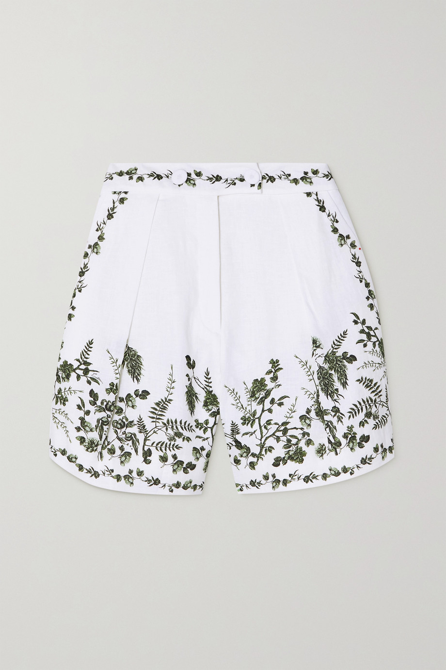 Erdem Howard pleated floral-print linen shorts