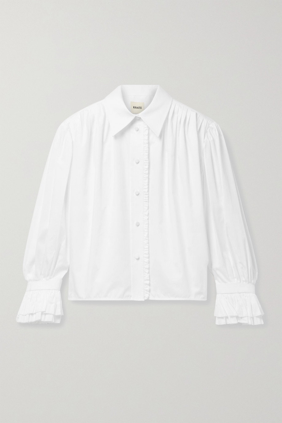 Khaite Vanina ruffled pleated cotton-poplin blouse