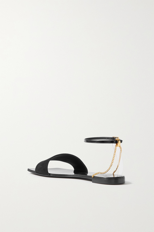 Giuseppe Zanotti Casablanca Sandalen aus Velours- und Lackleder mit Kette