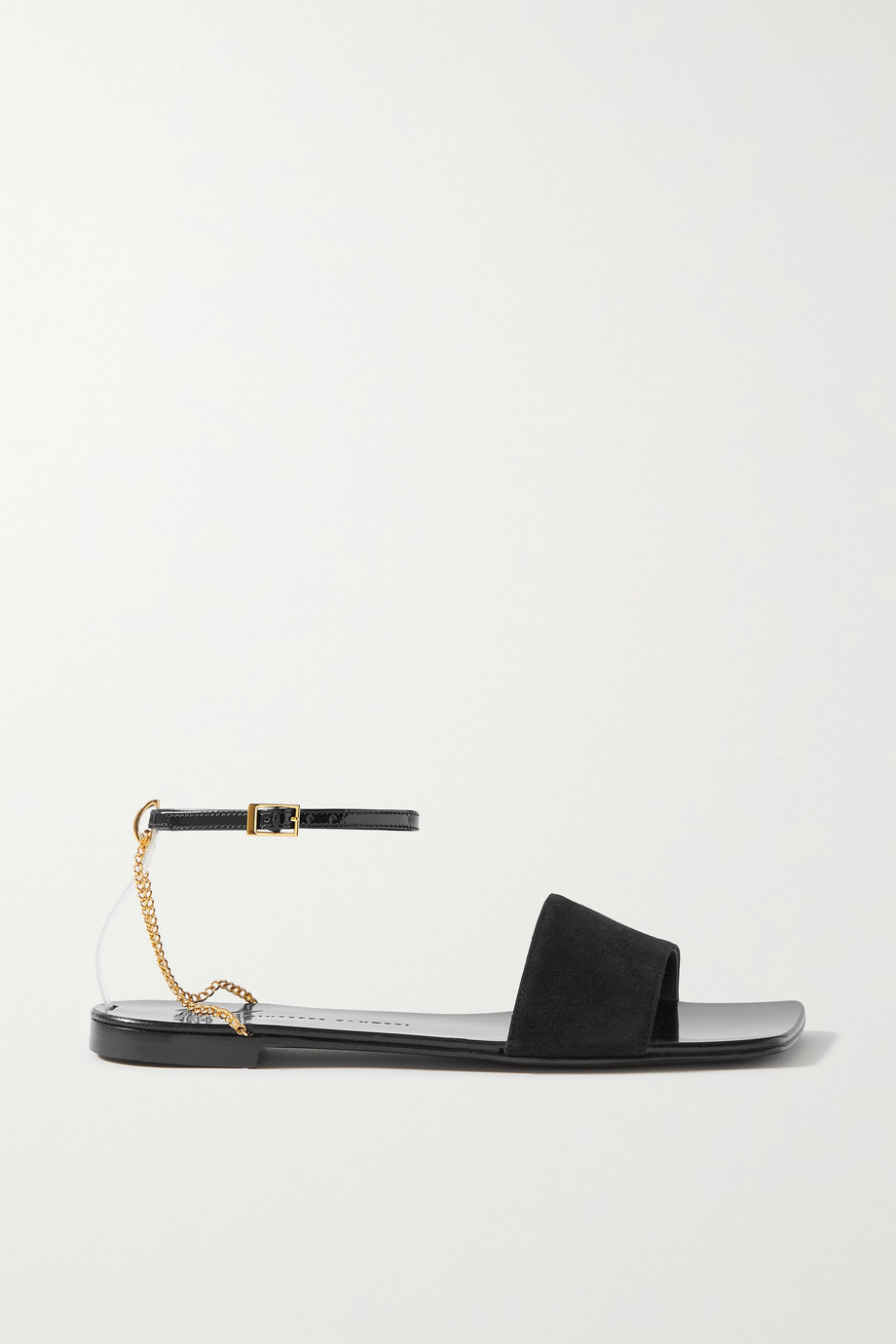 Giuseppe Zanotti Casablanca chain-embellished patent-leather and suede sandals