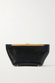 Khaite Aimee crinkled patent-leather clutch
