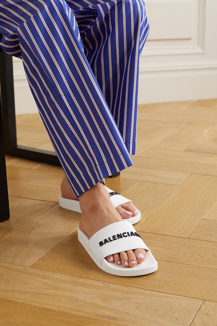 Balenciaga Pool Pantoletten aus Gummi mit Logoprägung
