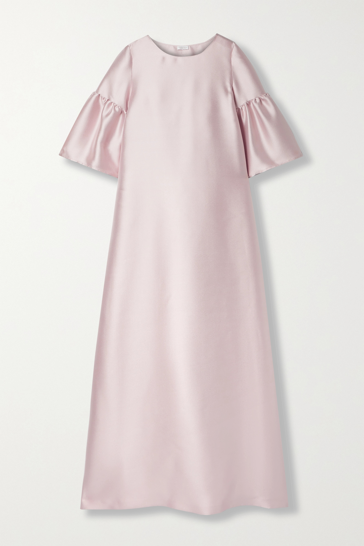 Reem Acra Satin-piqué gown