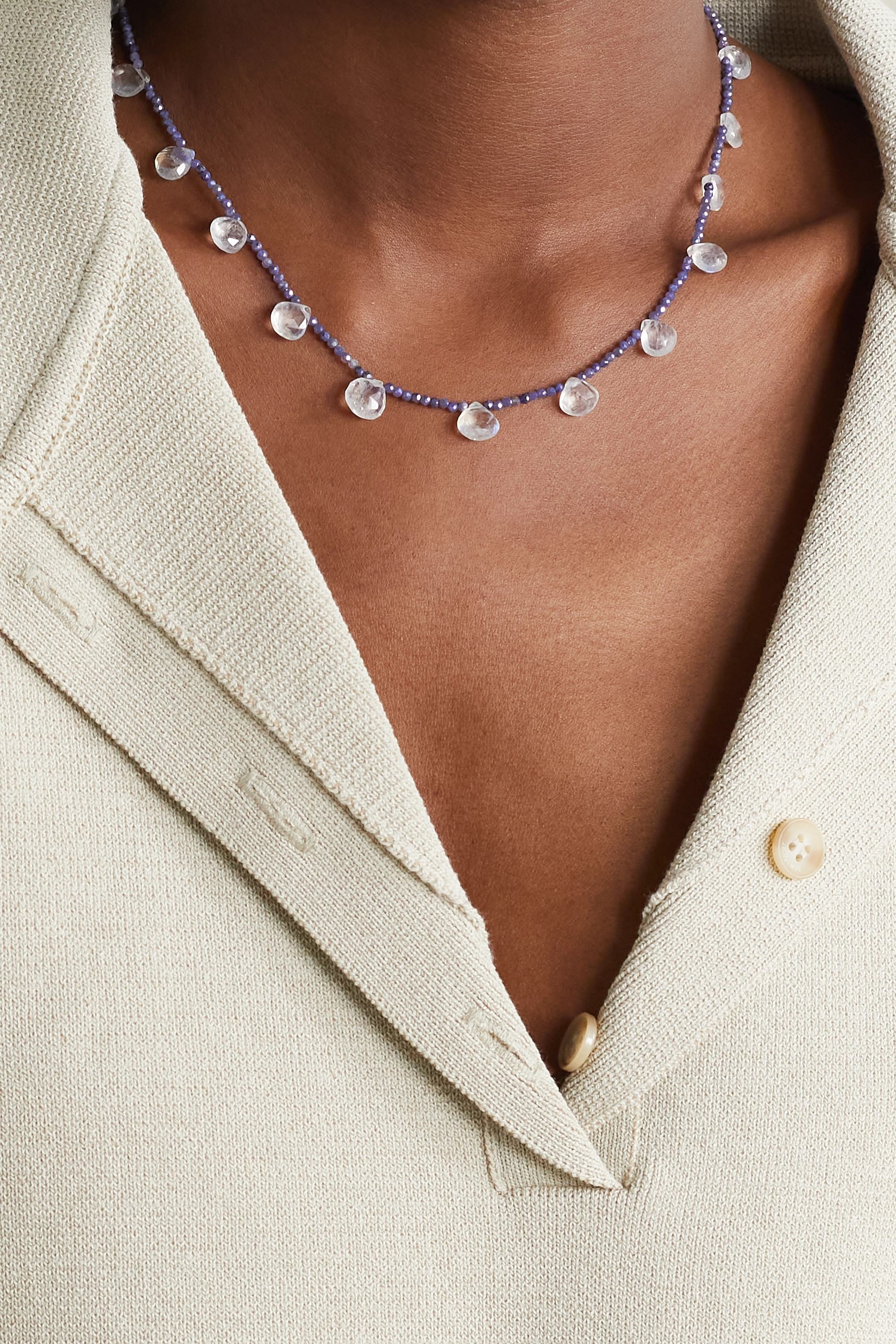 JIA JIA Gold, silverite and moonstone necklace