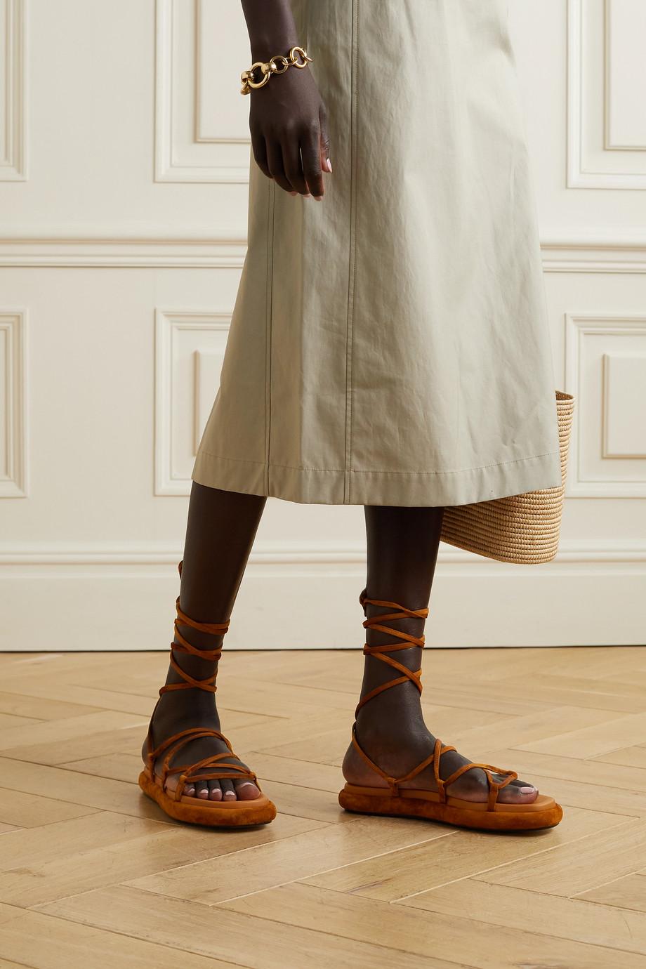 Khaite Alba leather-trimmed suede sandals