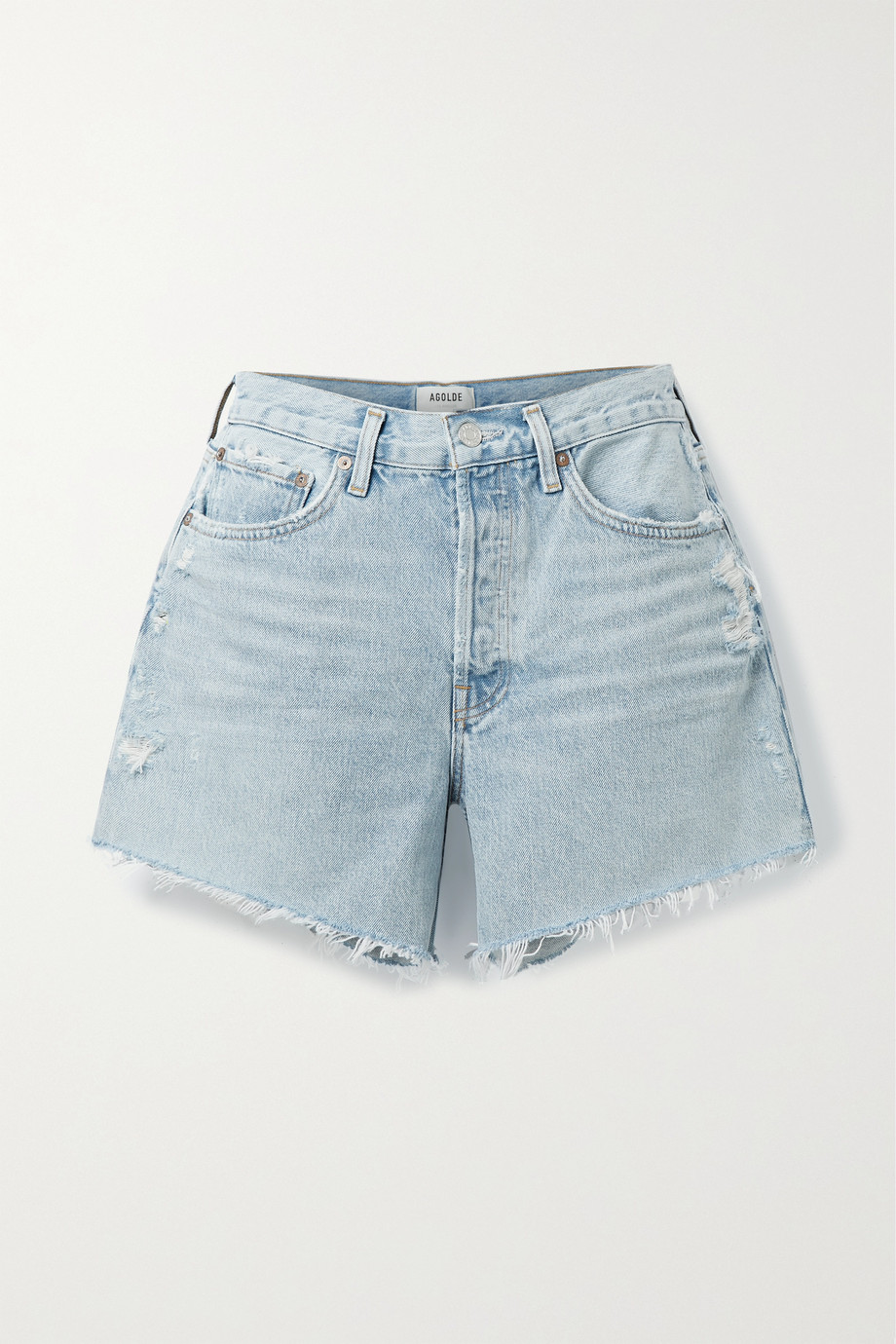 AGOLDE + NET SUSTAIN Parker distressed organic denim shorts