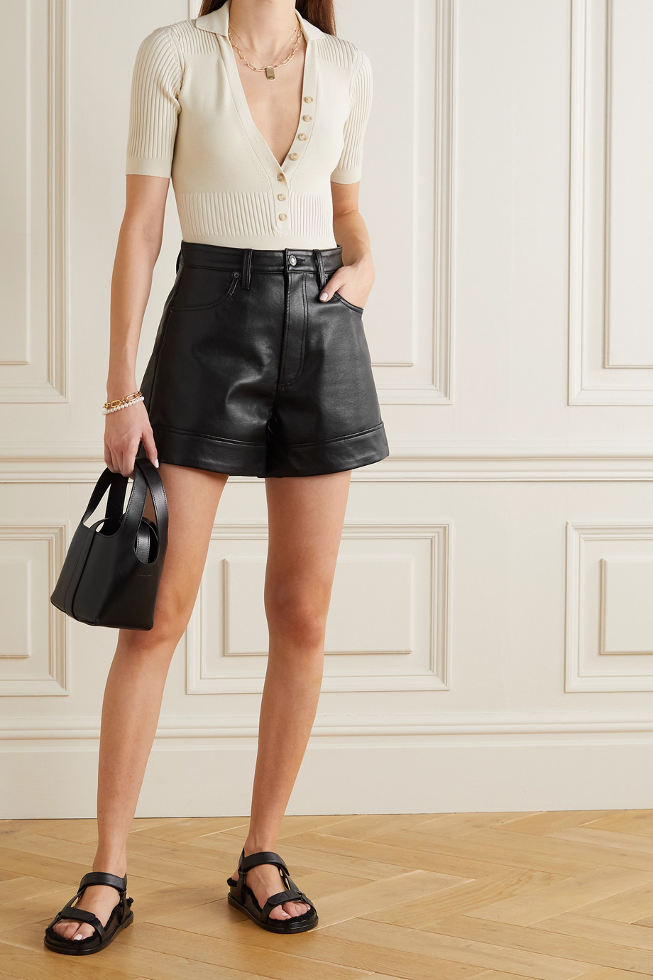 AGOLDE Recycled leather-blend shorts