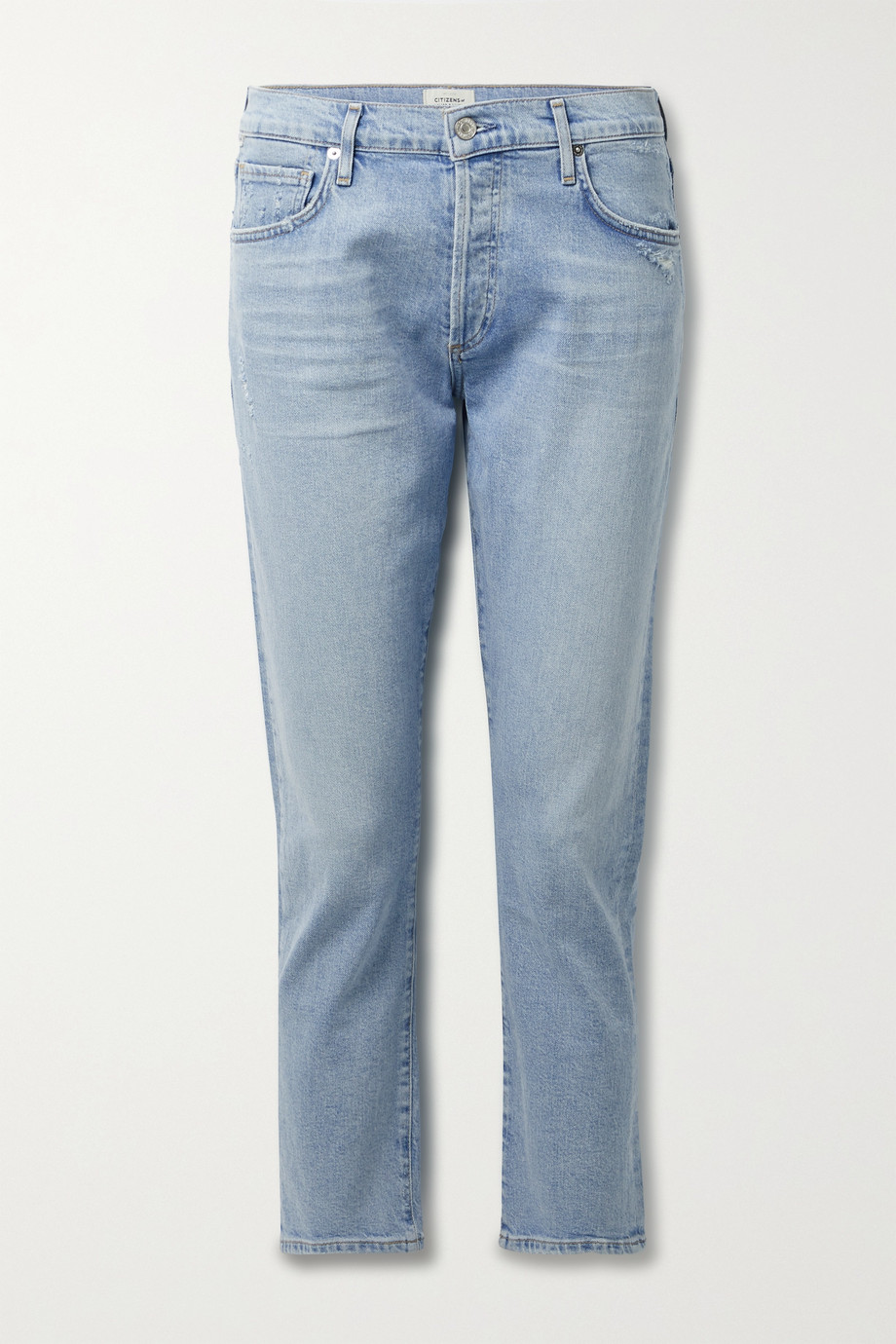 Citizens of Humanity + NET SUSTAIN Emerson cropped distressed organic mid-rise straight-leg jeans