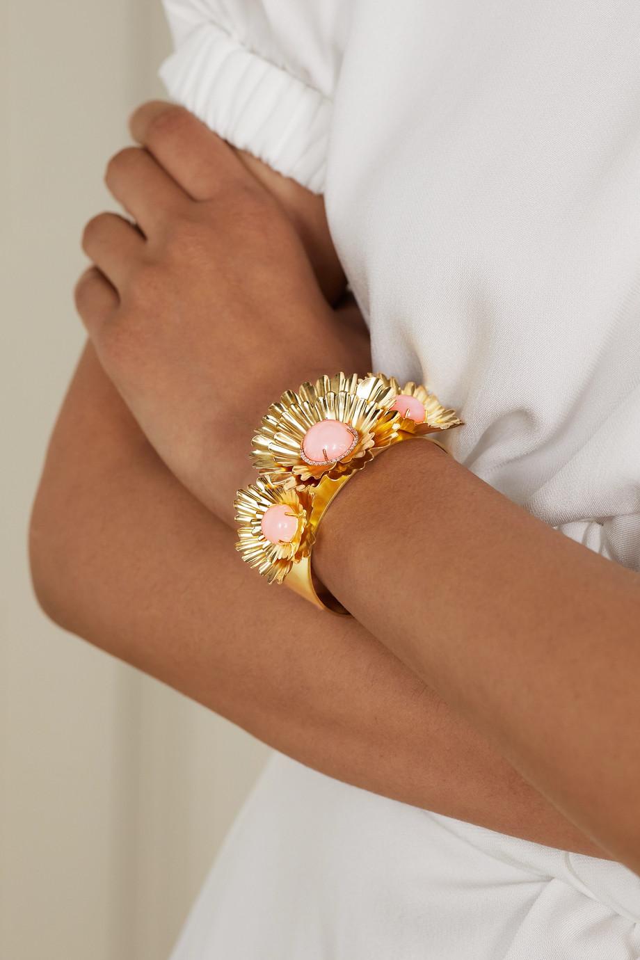 Irene Neuwirth Super Bloom 18-karat yellow and white gold, opal and diamond cuff