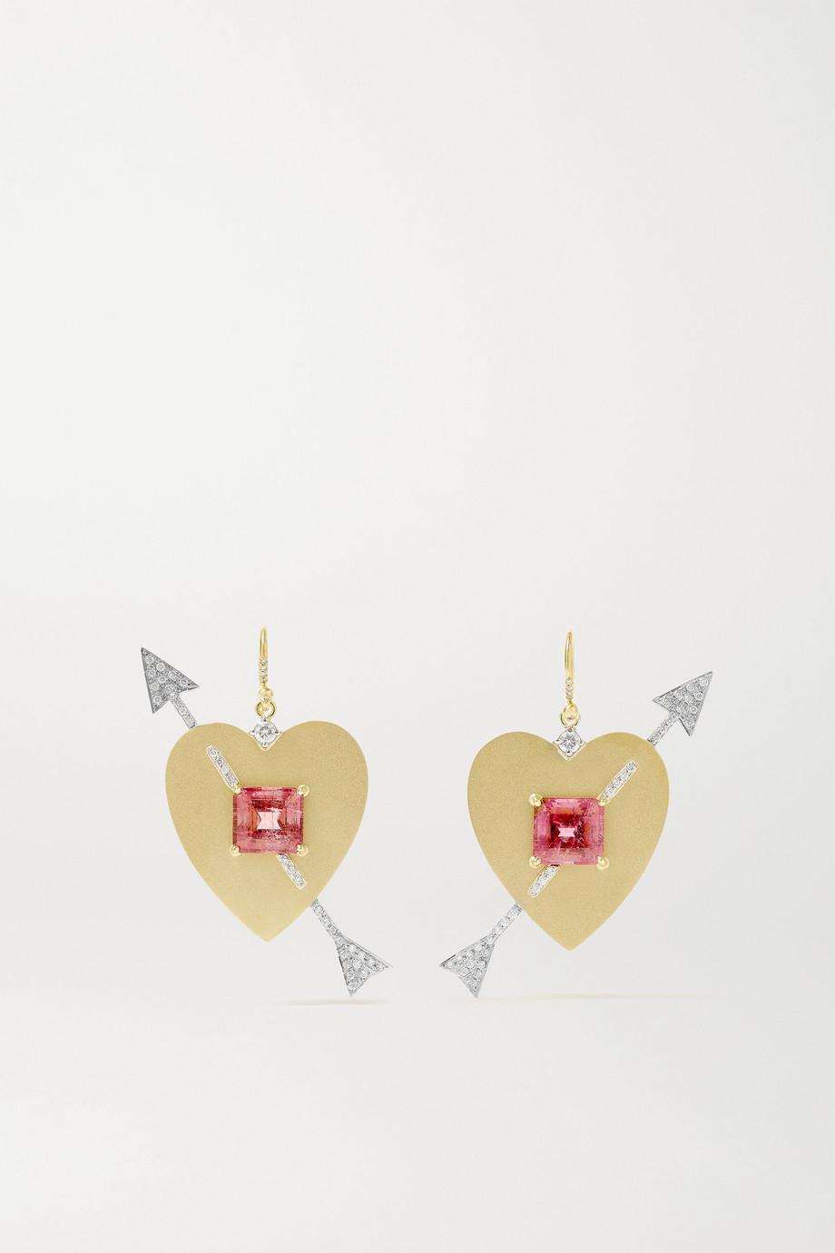 Irene Neuwirth True Love 18-karat yellow and white gold, tourmaline and diamond earrings