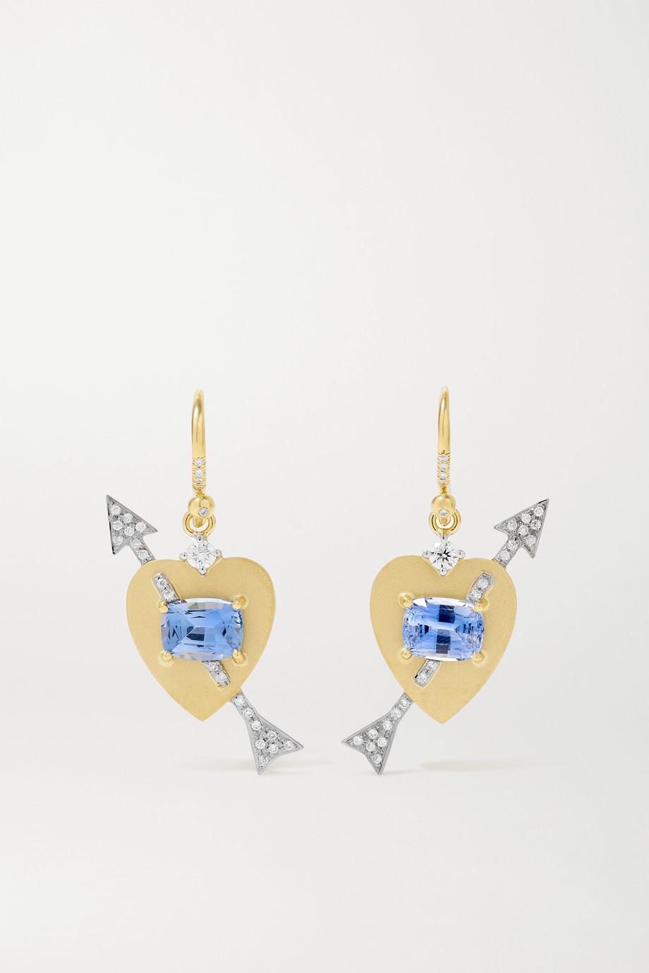 Irene Neuwirth True Love 18-karat yellow and white gold, sapphire and diamond earrings