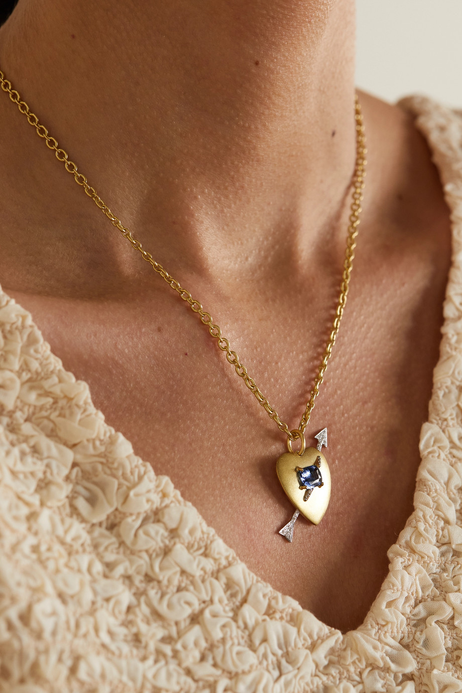 Irene Neuwirth True Love 18K 黄金、18K 白金、蓝宝石、钻石项链
