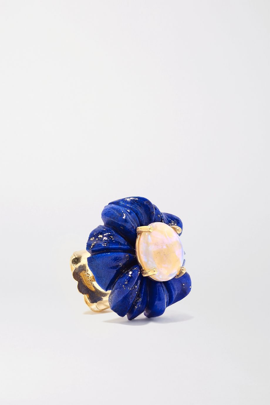 Irene Neuwirth Botanical Tropical 18-karat gold, lapis lazuli and opal earrings