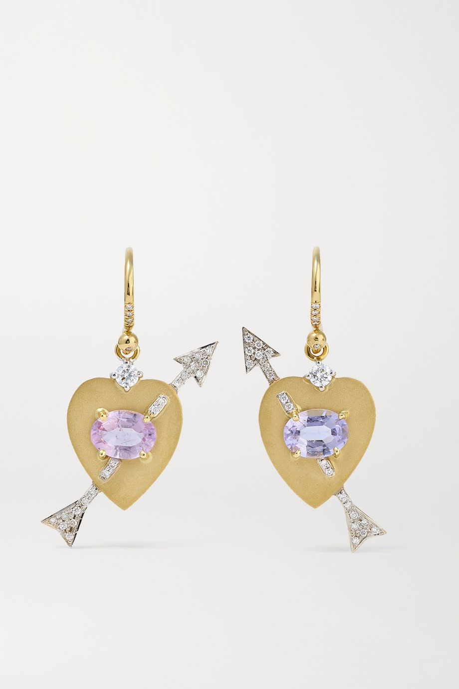 Irene Neuwirth True Love 18-karat yellow and white gold, tourmaline and diamond earrings
