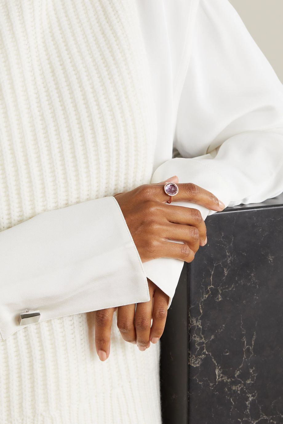 Irene Neuwirth Classic 18-karat rose gold, amethyst and diamond ring