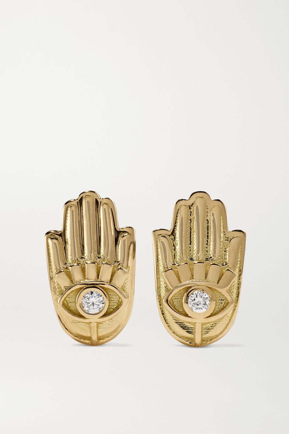 Brent Neale Hamsa Ohrringe aus 18 Karat Gold mit Diamanten