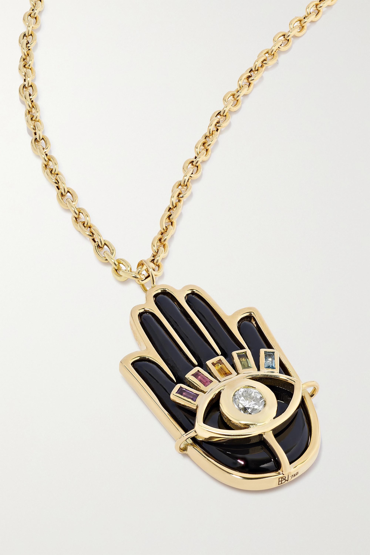 Brent Neale Hamsa 18-karat gold multi-stone necklace