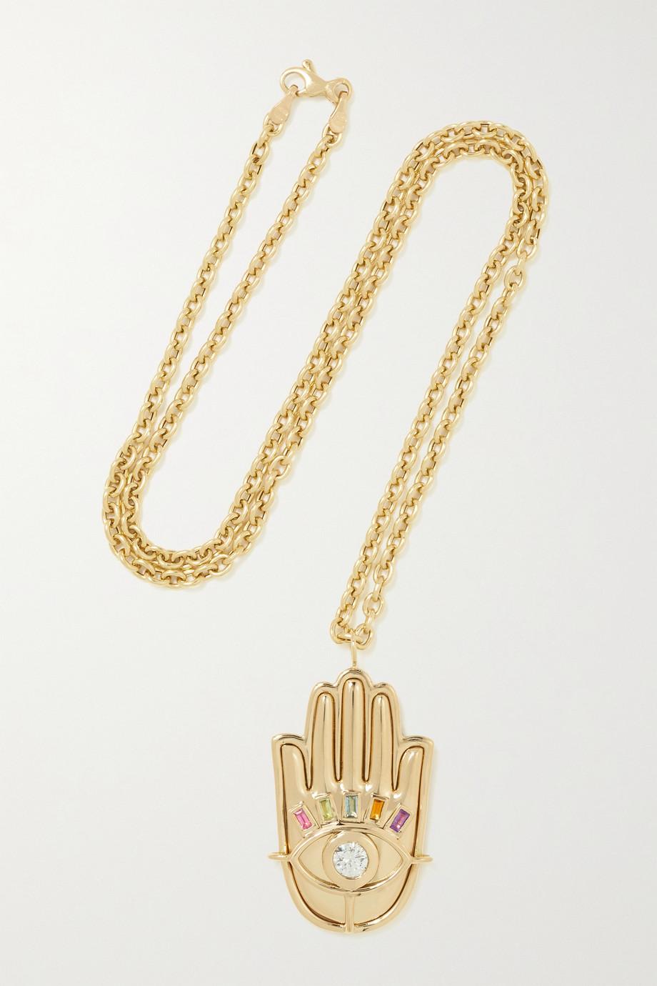 Brent Neale Collier en or 18 carats, diamant et saphirs Hamsa