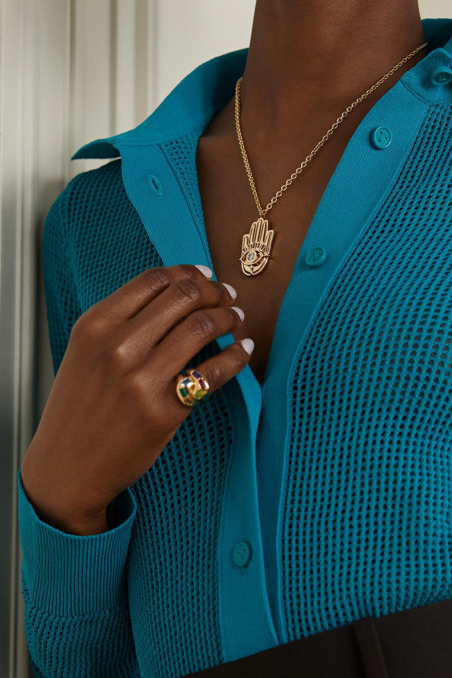 Brent Neale Hamsa 18-karat gold, diamond and sapphire necklace
