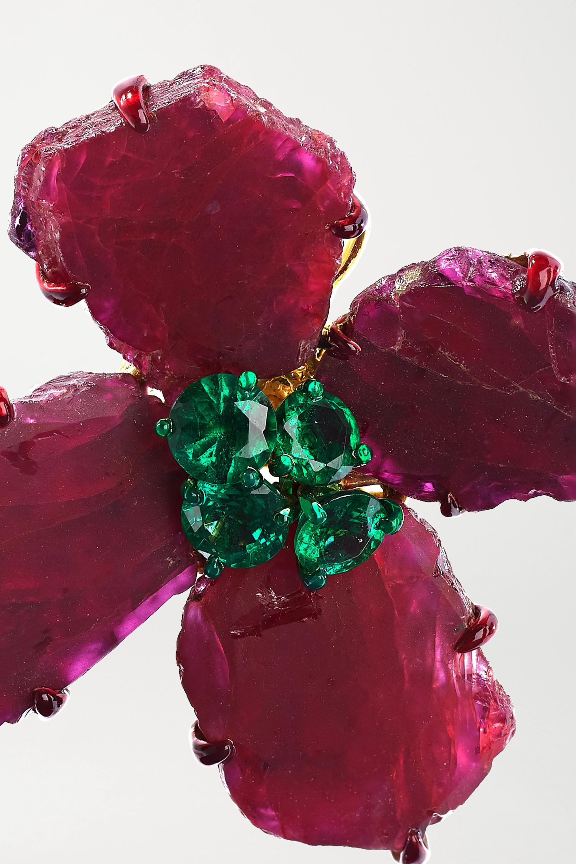 Bina Goenka 18-karat gold, ruby and emerald earrings