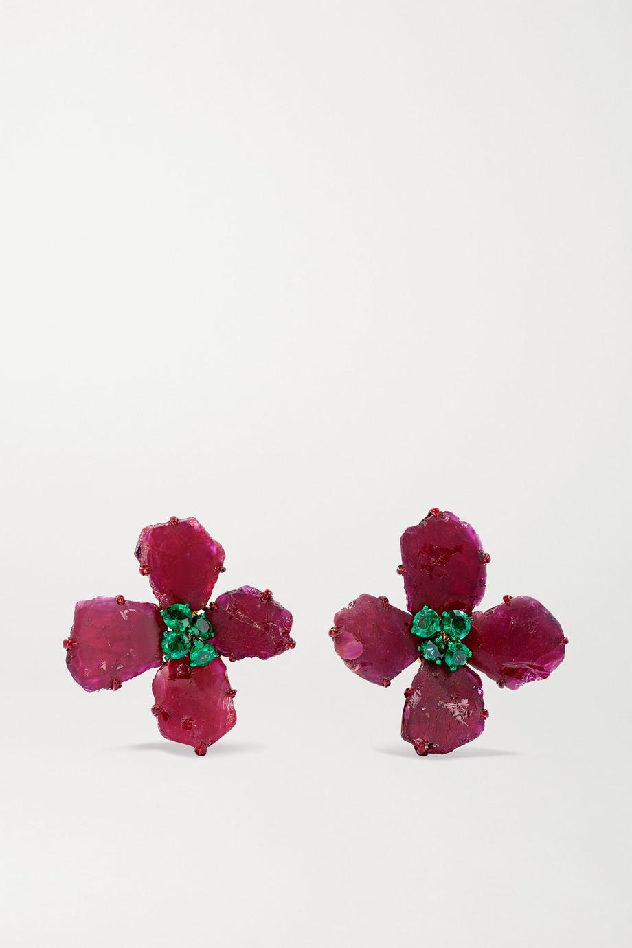 Bina Goenka Boucles d'oreilles en or 18 carats, rubis et émeraudes
