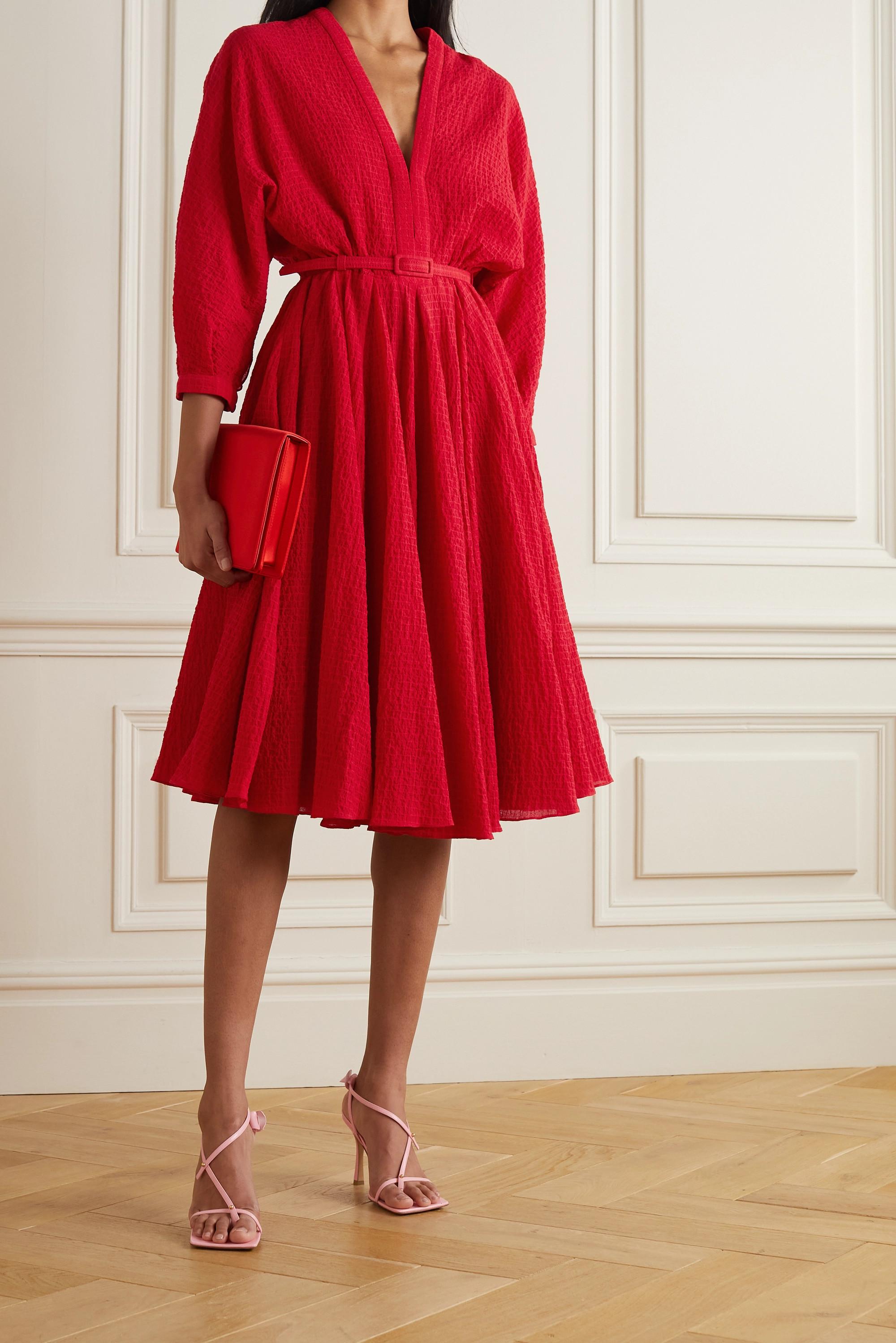 Emilia Wickstead Lilith Kleid aus Cloqué aus einer Baumwollmischung mit Gürtel