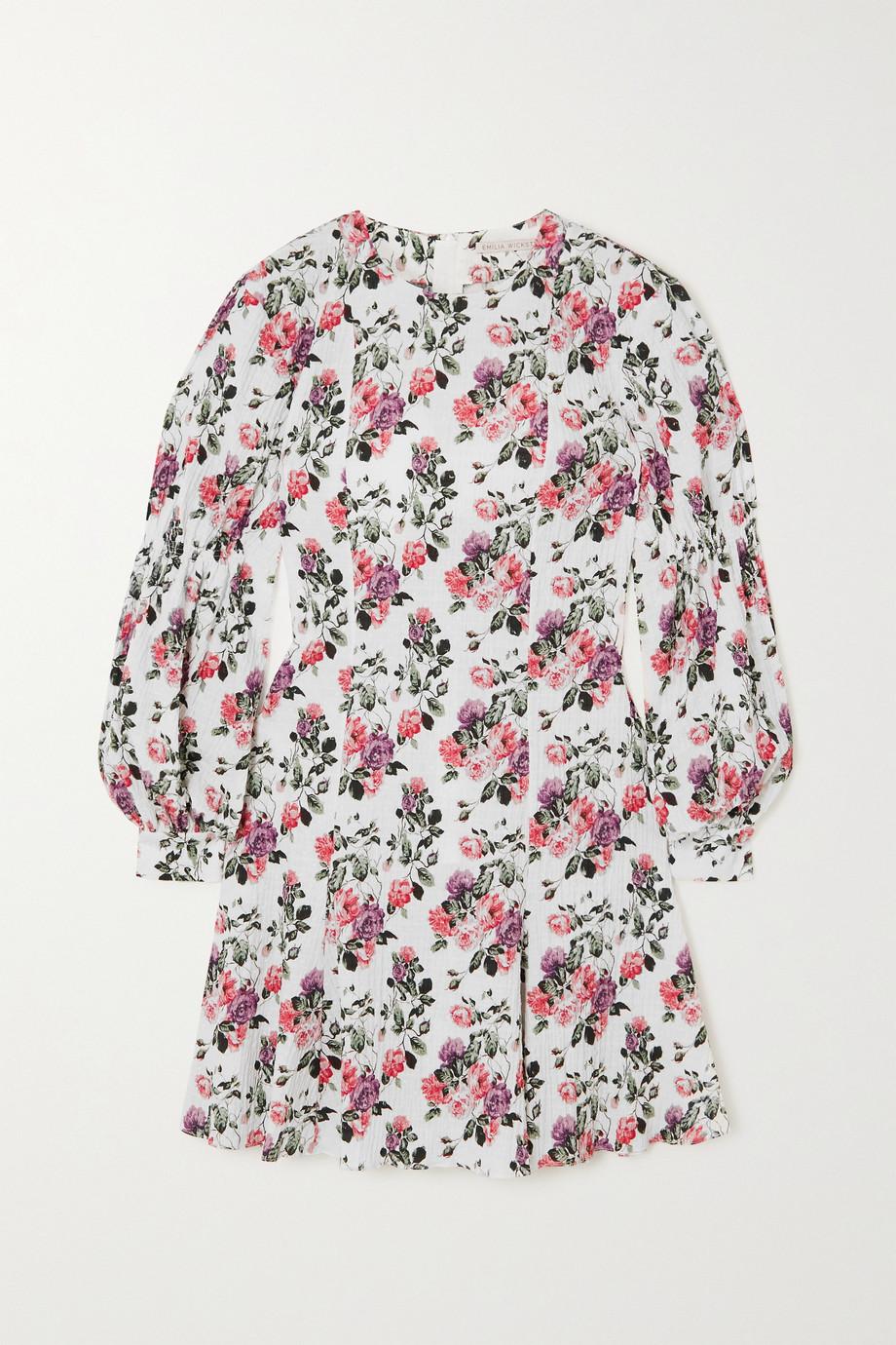 Emilia Wickstead Azzura Minikleid aus Seersucker aus einer Baumwollmischung mit Webpunkten und Blumenprint