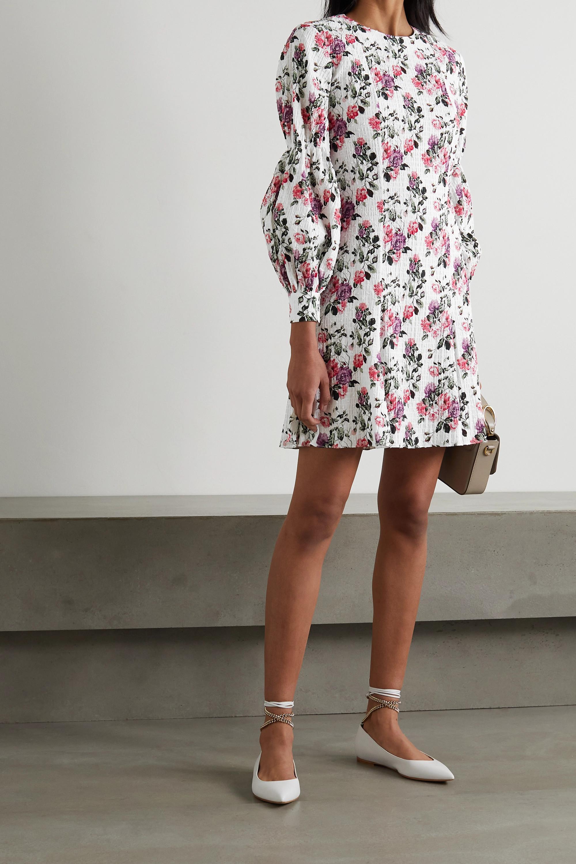 Emilia Wickstead Mini-robe en crépon de coton mélangé à plumetis et à imprimé fleuri Azzura