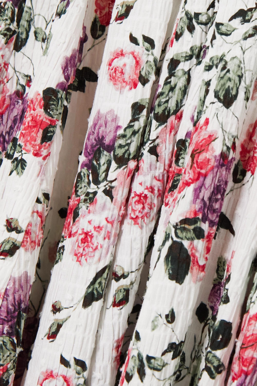 Emilia Wickstead Robe midi en crépon de coton mélangé à plumetis et à imprimé fleuri Rhea