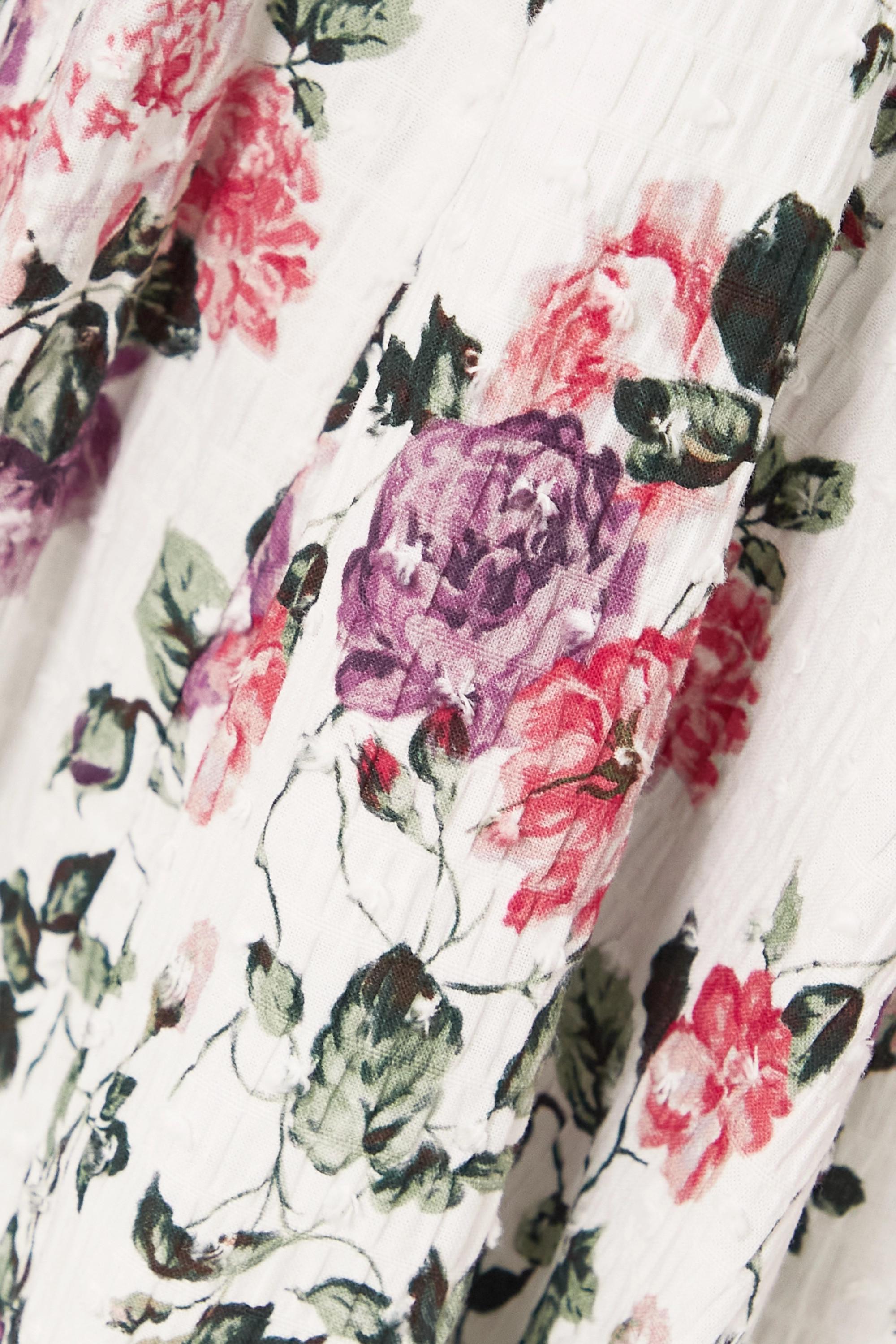 Emilia Wickstead Robe midi en crépon de coton mélangé à pois, imprimé fleuri et ceinture Marion