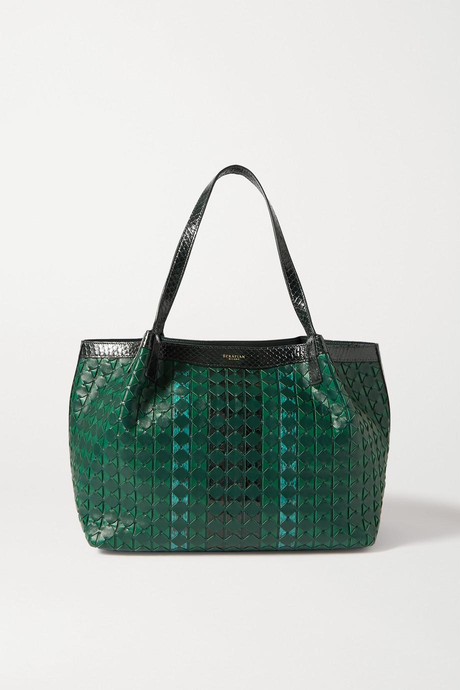 Serapian Small Secret leather and elaphe tote