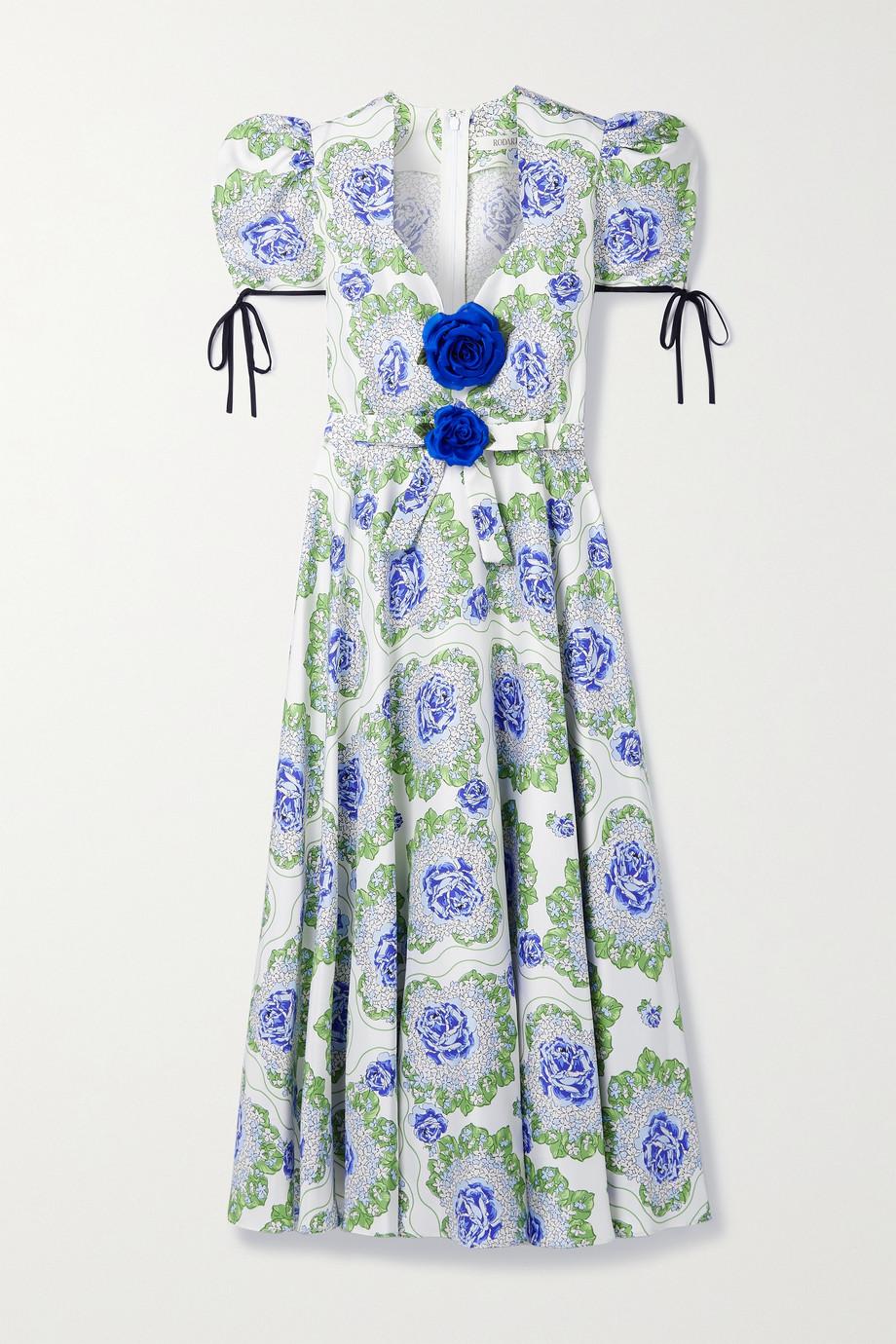Rodarte Robe midi en serge de soie à imprimé fleuri et à ornements