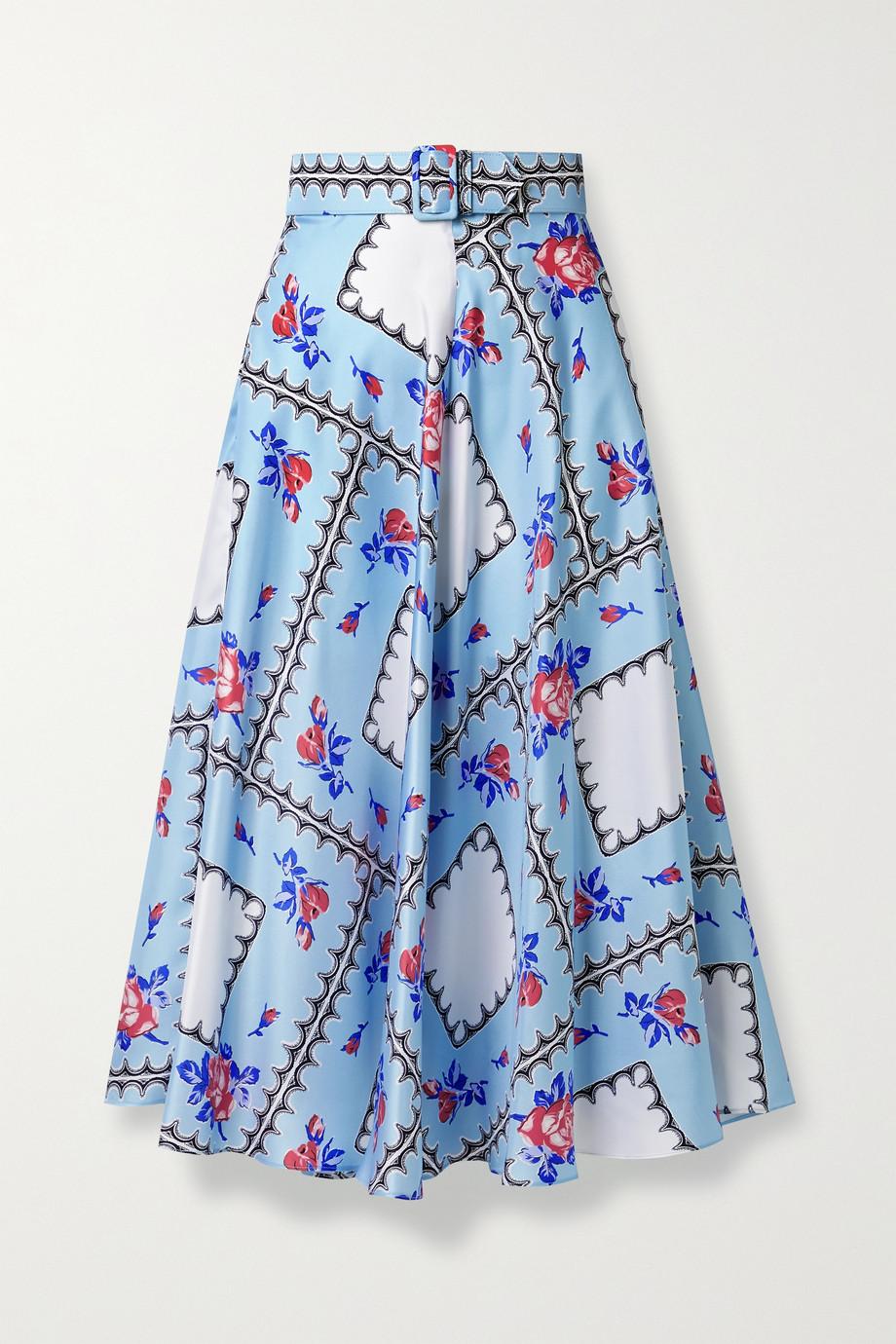 Rodarte Belted printed silk-twill midi skirt