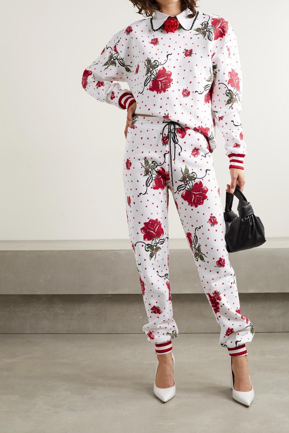 Rodarte Pantalon de survêtement en jersey de coton mélangé à imprimé fleuri