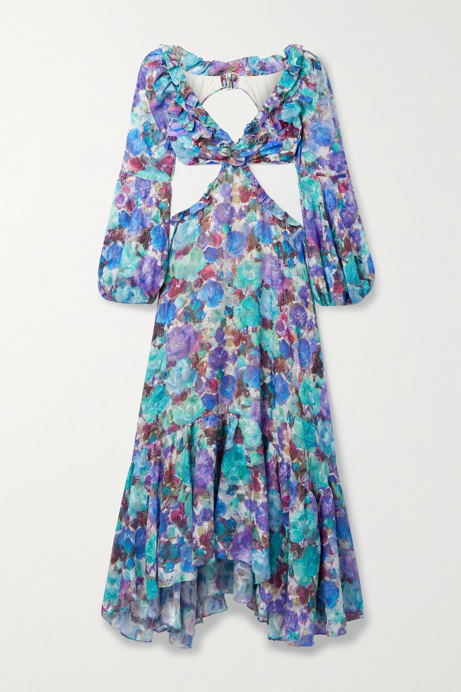 PatBO Robe longue en jacquard et en jersey à imprimé fleuri, à volants et à découpes