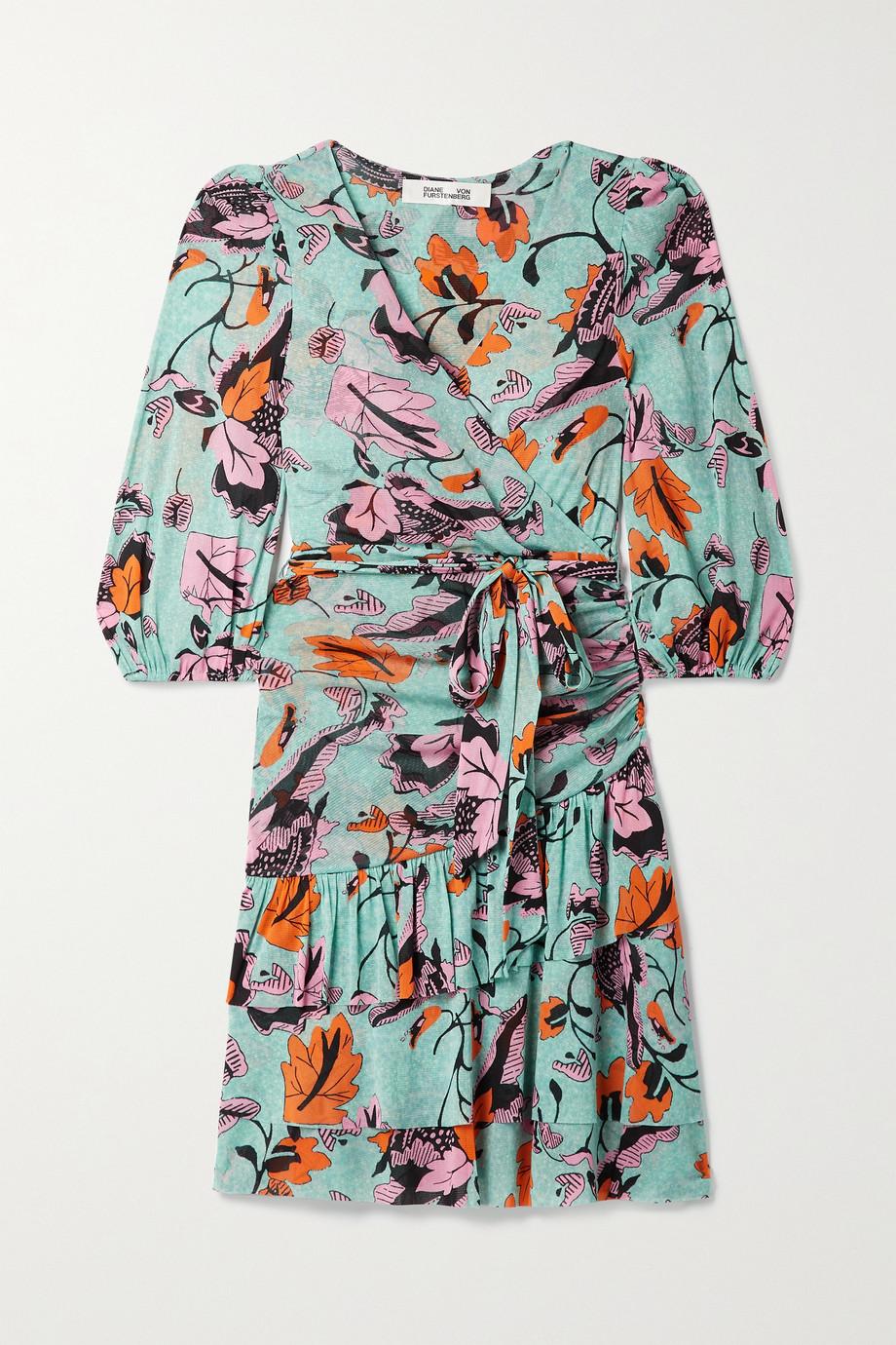 Diane von Furstenberg Cora wrap-effect tiered printed tulle mini dress