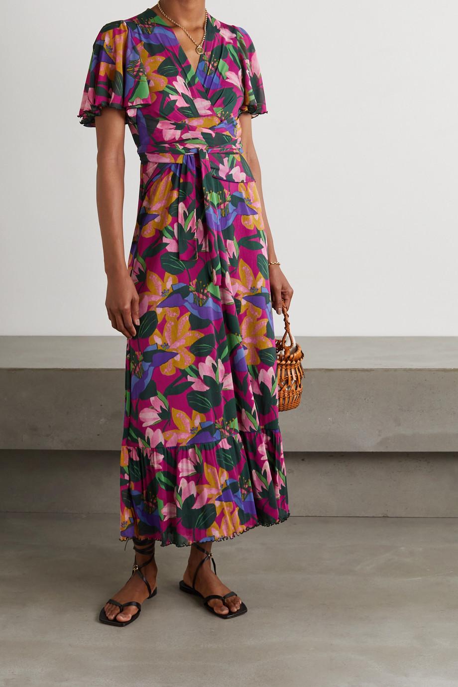 Diane von Furstenberg Alison tiered wrap-effect floral-print jersey midi dress