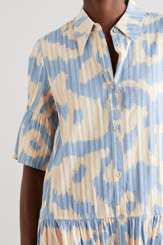Diane von Furstenberg Beata Mini-Hemdblusenkleid aus Baumwoll-Jacquard mit Leopardenprint