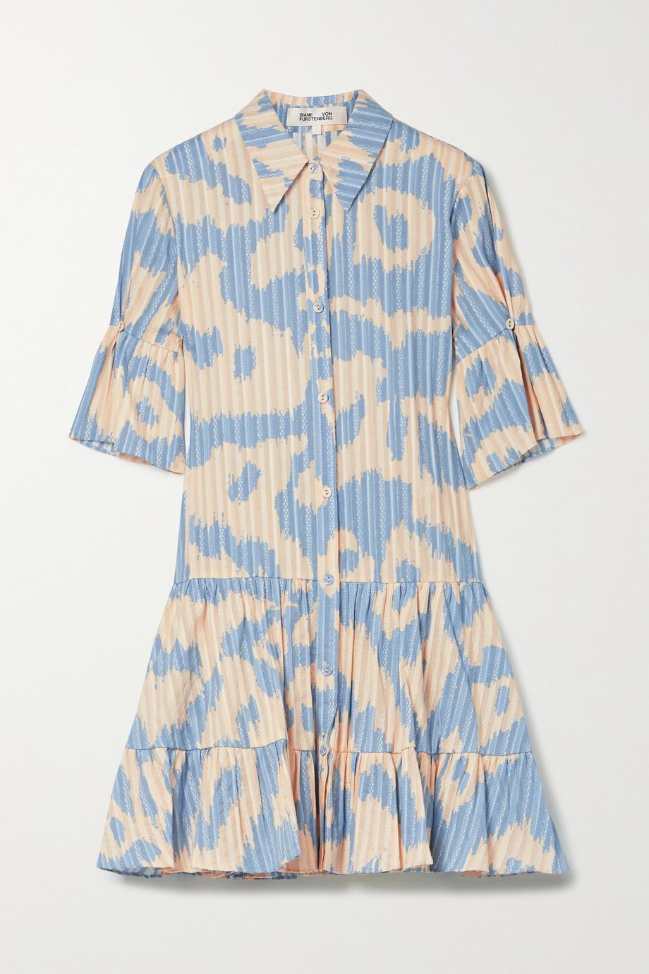 Diane von Furstenberg Beata tiered leopard-print cotton-jacquard mini shirt dress