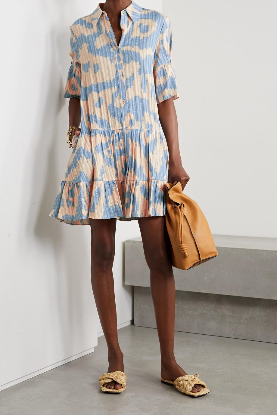 Diane von Furstenberg Mini-robe-chemise en jacquard de coton à imprimé léopard Beata