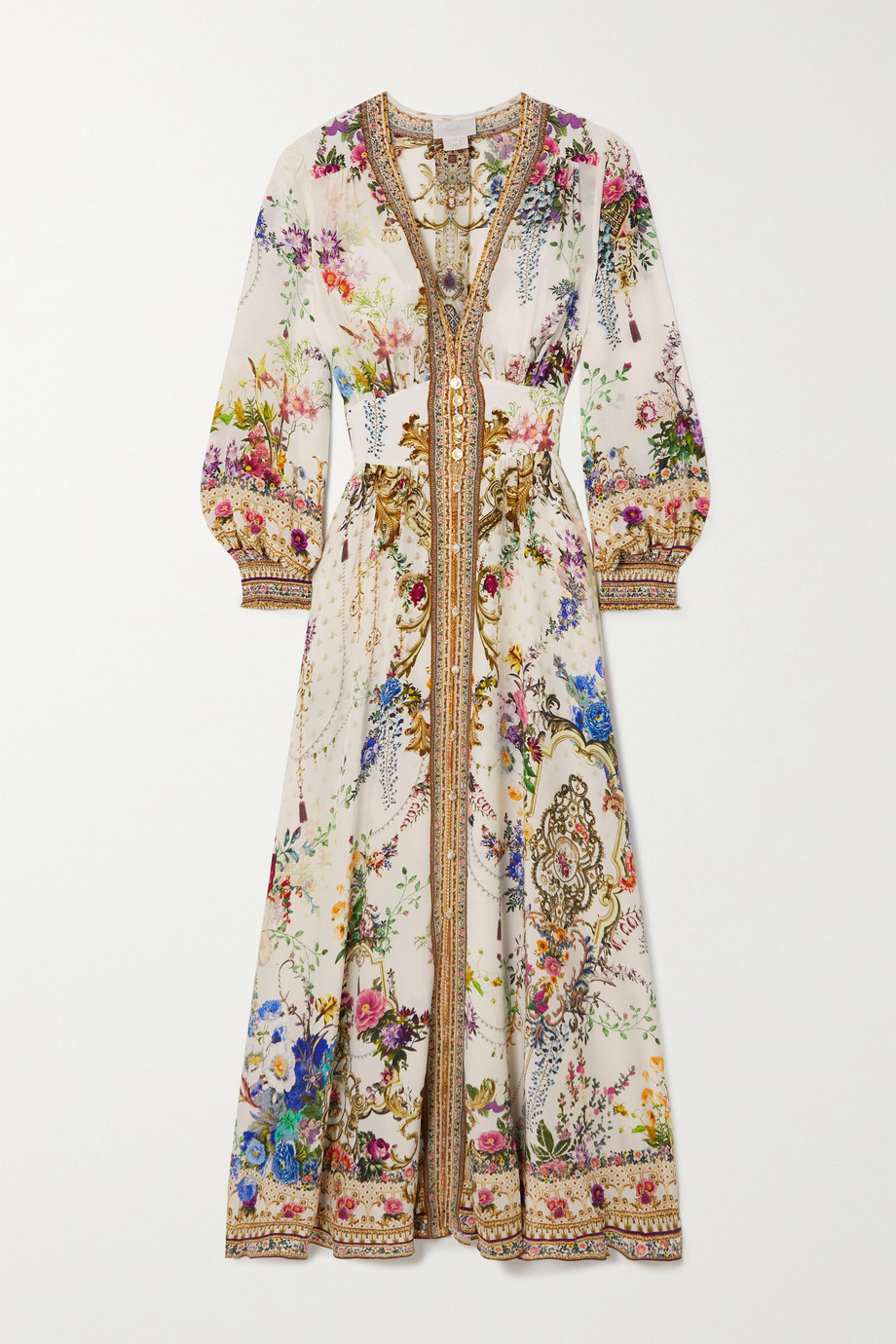 Camilla By the Meadow smocked printed silk-crepe maxi dress