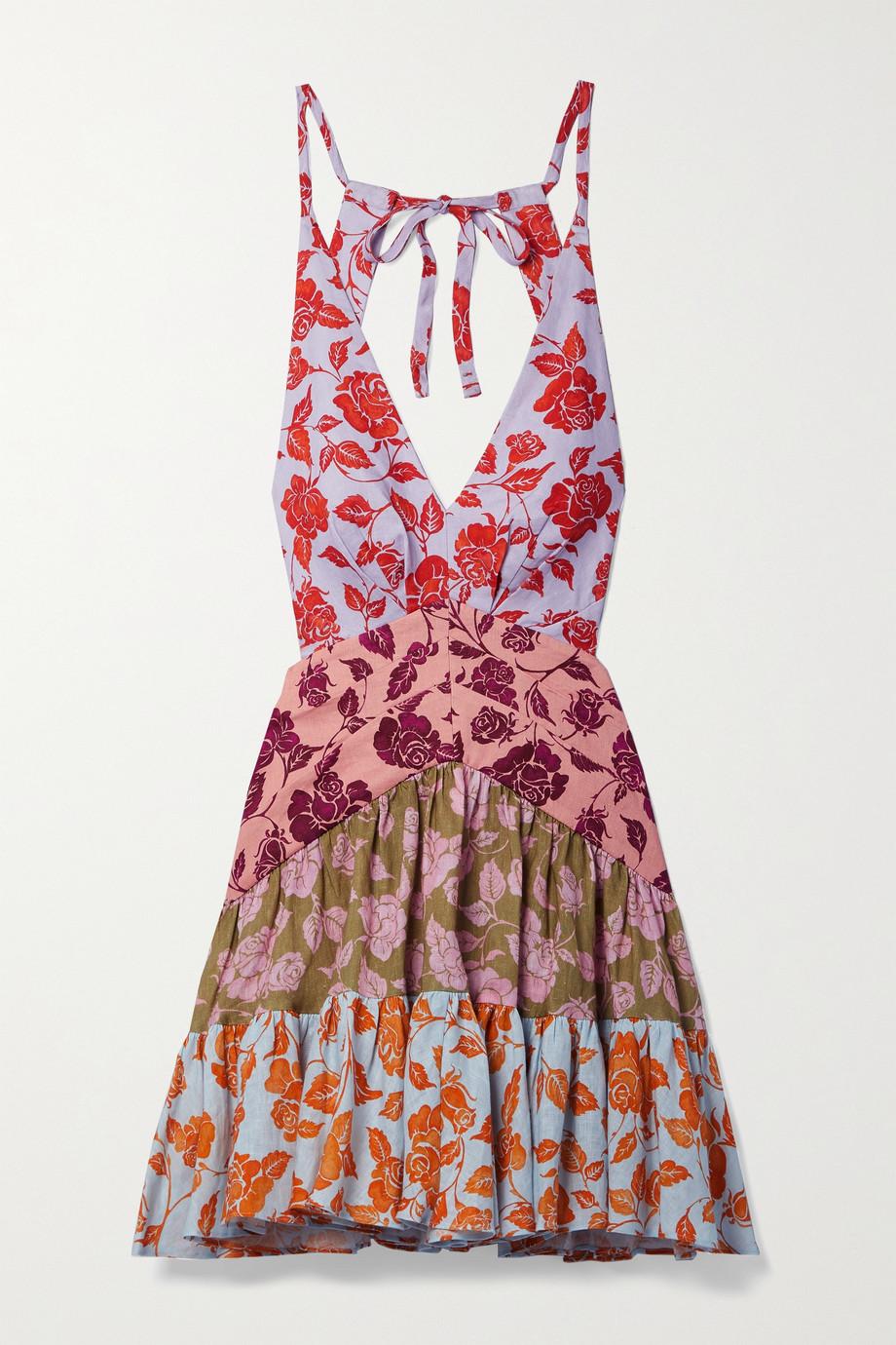 Zimmermann The Lovestruck floral-print linen halterneck mini dress