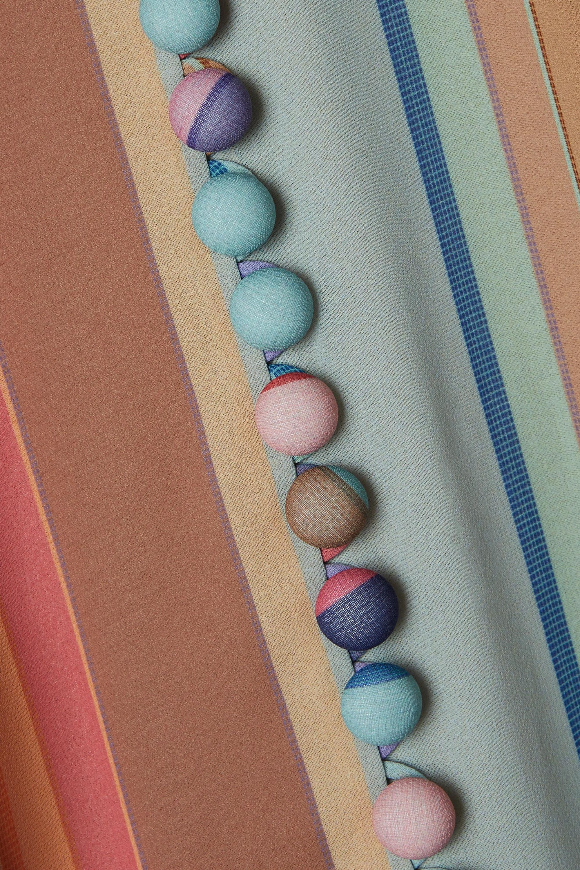 Zimmermann Belted pleated striped silk crepe de chine midi dress