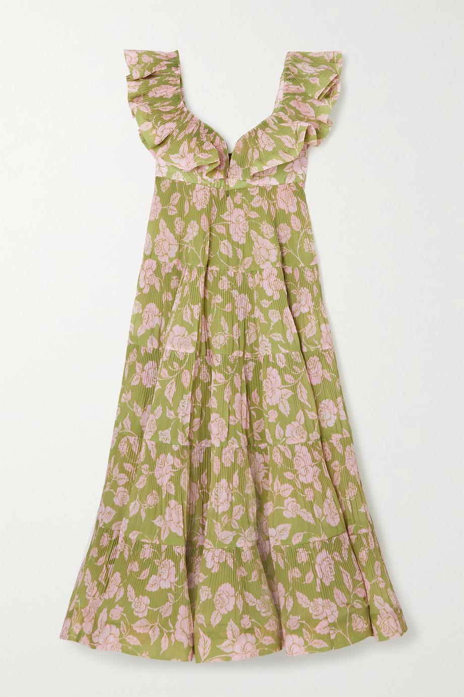 Zimmermann The Lovestruck ruffled floral-print plissé-crepe midi dress