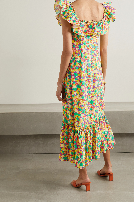 RIXO June ruffled printed cotton midi dress